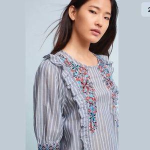 Anthropologie | One September blue Jayden blouse M